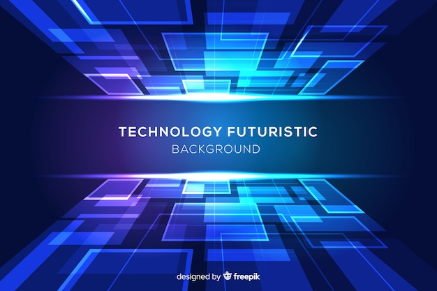 Blue futuristic background with shapes Free Vector