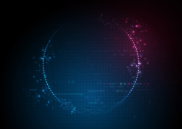 Blue futuristic center digital data technology Premium Vector