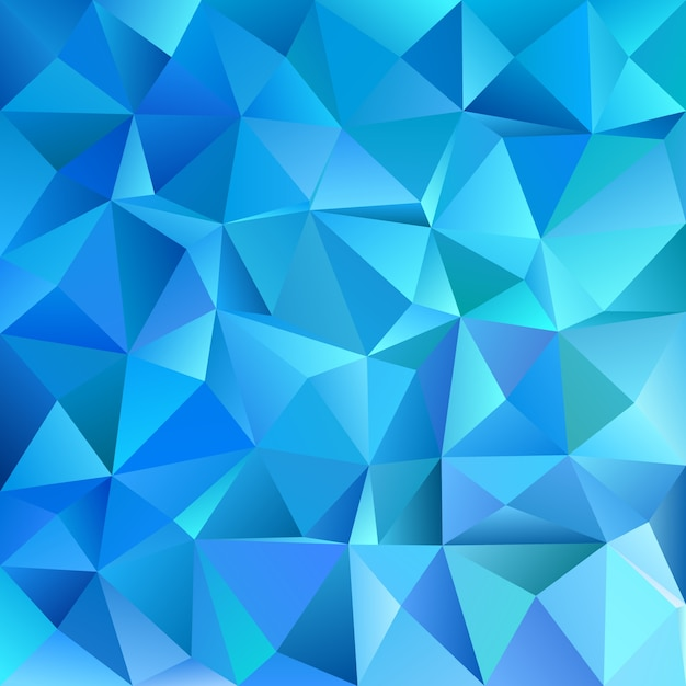 Blue geometric abstract chaotic triangle pattern background - mosaic vector graphic design Free Vector