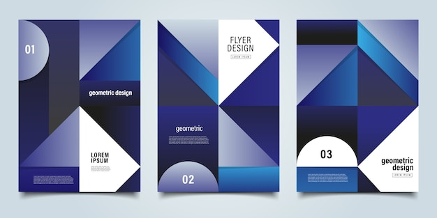 Синий геометрический фон флаер шаблон Premium векторы