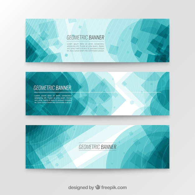 Blue geometric banner collection Free Vector