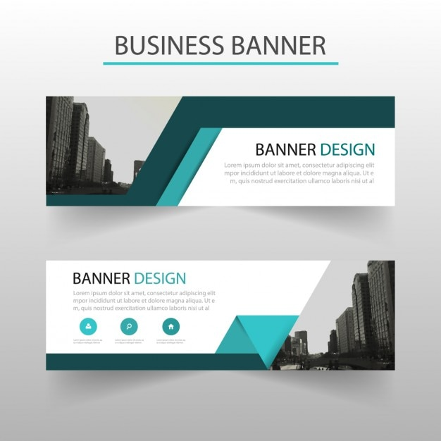 Blue geometric banner with ribbons Vector