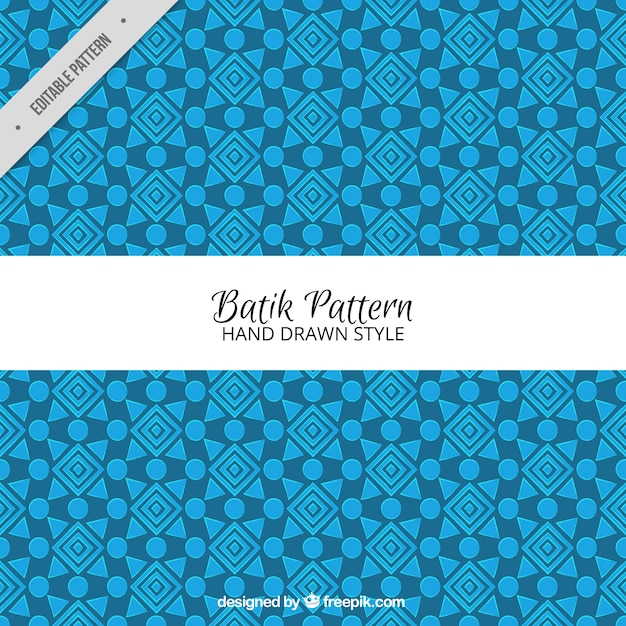 Blue Geometric Batik Pattern