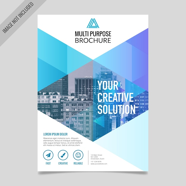 Blue geometric brochure with triangular shapes Free Vector