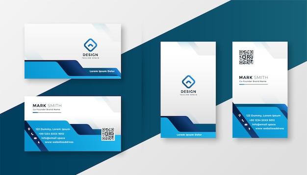 青い幾何学的なビジネスカードのモダンなデザインテンプレート 無料ベクター