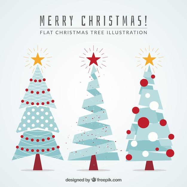 Blue geometric christmas trees Free Vector