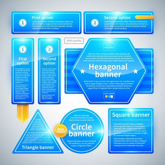 Blue and geometric infographic with glossy texture Free Vector
