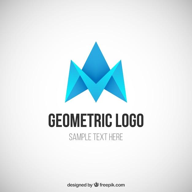 blue geometric logo vector free download