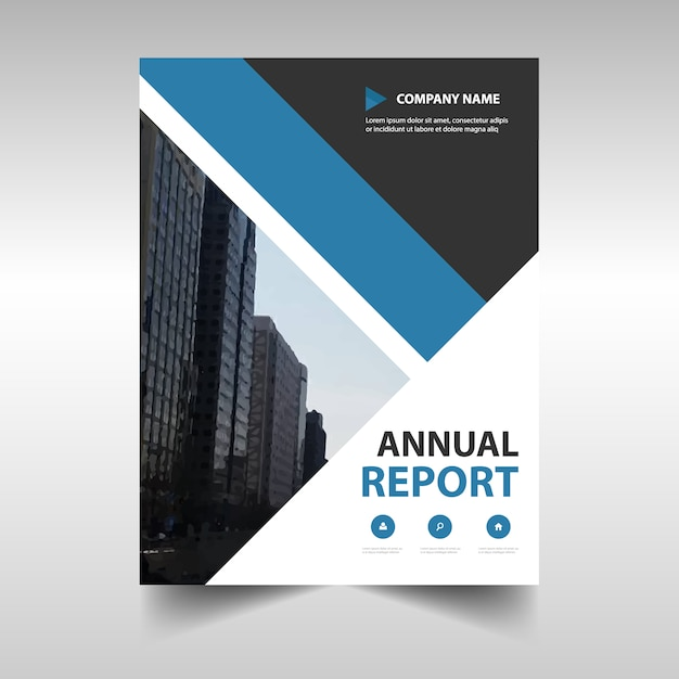 Blue Geometric Professional Annual Report Template Vector  Free