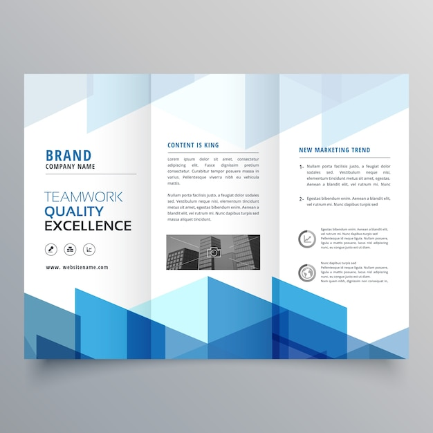 Blue Geometric Trifold Business Brochure Design Template
