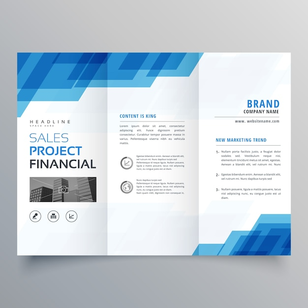 Blue geometric trifold business brochure design template for Free templates for catalogue design