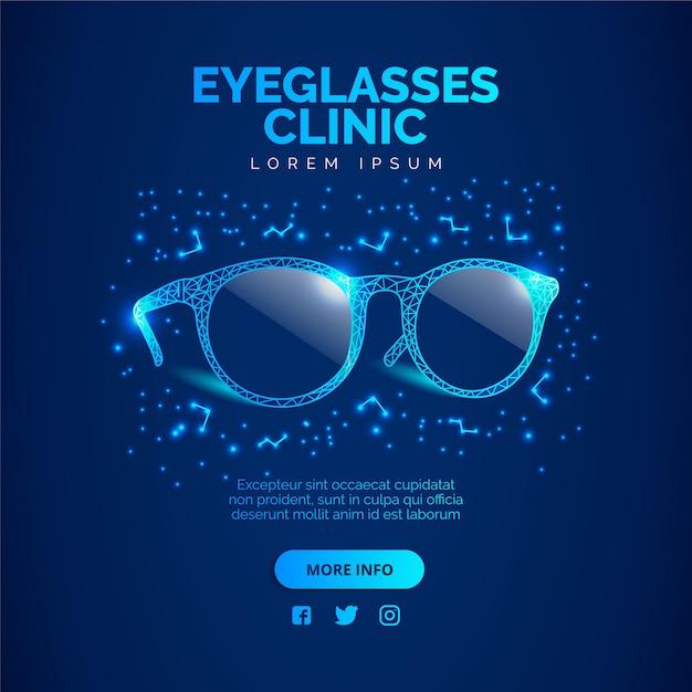 Blue glasses clinic  background. illustration vector. Premium Vector