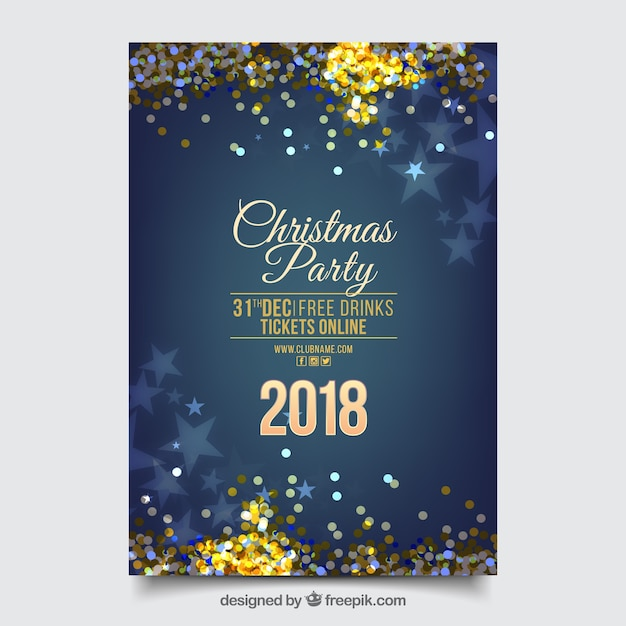 Blue glittery new year party poster Free Vector