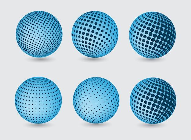 Raccolta blu globi Vettore gratuito