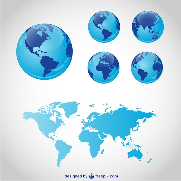 Blue globes and world map Premium Vector
