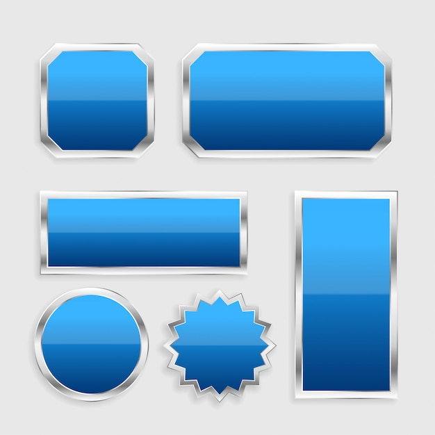 Blue glossy buttons set with metallic frame Free Vector