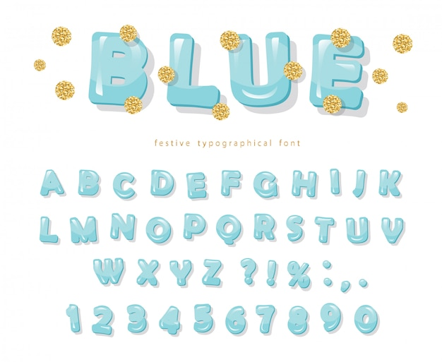 青い光沢のあるフォントです。ゴールドのグリッター紙吹雪。 Premiumベクター