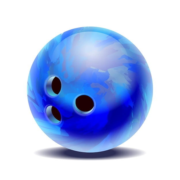 白地に青い光沢のあるマルチカラーのボウリングボール。図 Premiumベクター