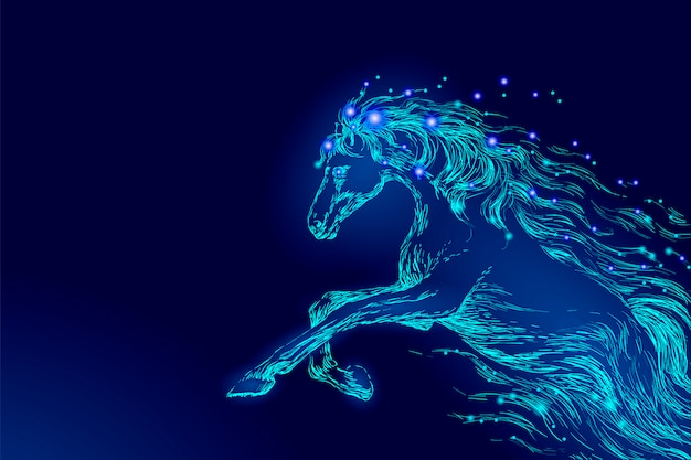 Blue glowing horse riding night sky star, creative decoration magical backdrop Premium Vector