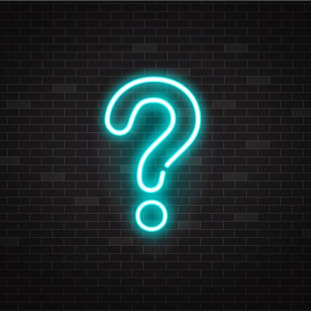 青い光る概要ネオン疑問符または黒の背景にサインオンします。 Premiumベクター