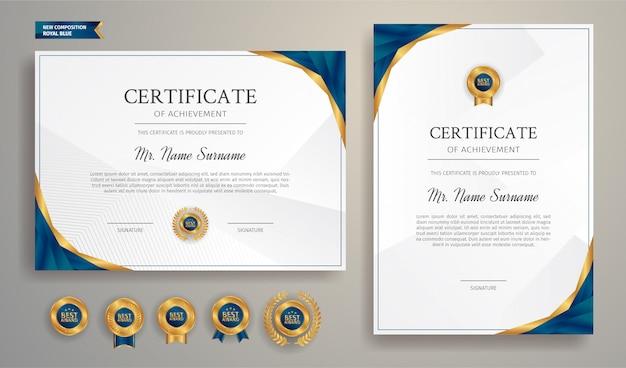 Sertifikat biru dan emas dari templat perbatasan penghargaan dengan lencana mewah dan pola garis modern.  untuk penghargaan, bisnis, dan pendidikan membutuhkan Vektor Premium