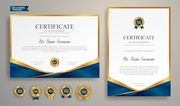 Sertifikat biru dan emas dengan lencana dan templat perbatasan a4 Vektor Premium