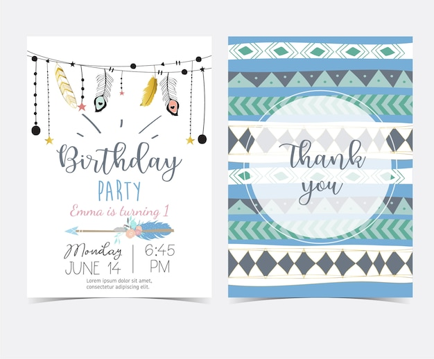 Blue gold hand drawn cute card with feather and arrow. thank you Premium Vector