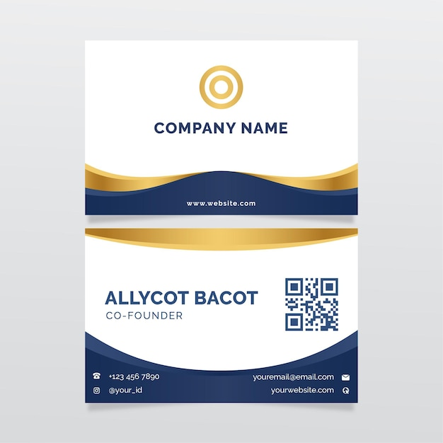 Blue and golden business identity cards template Premium Vector