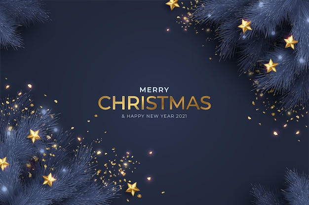 Blue and golden merry christmas and new year card with realistic decoration Free Vector