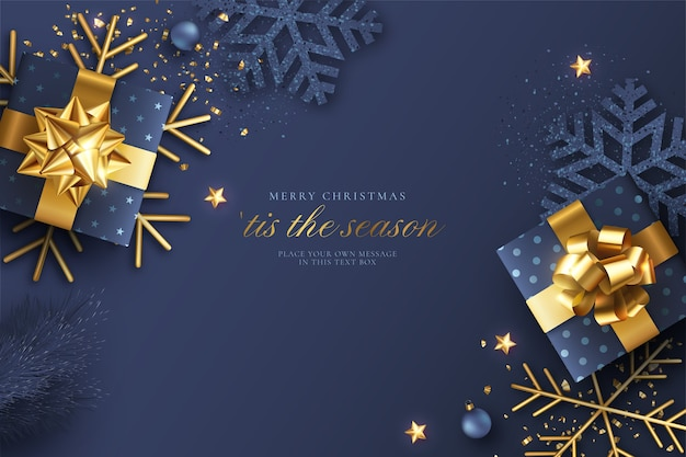 Blue and golden realistic christmas background Free Vector
