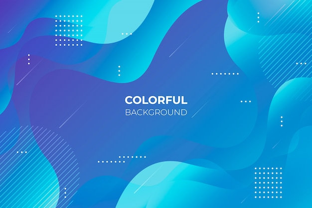 Blue gradient background with abstract shapes Free Vector