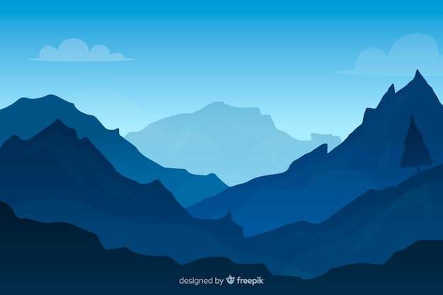Blue gradient mountains landscape background Free Vector