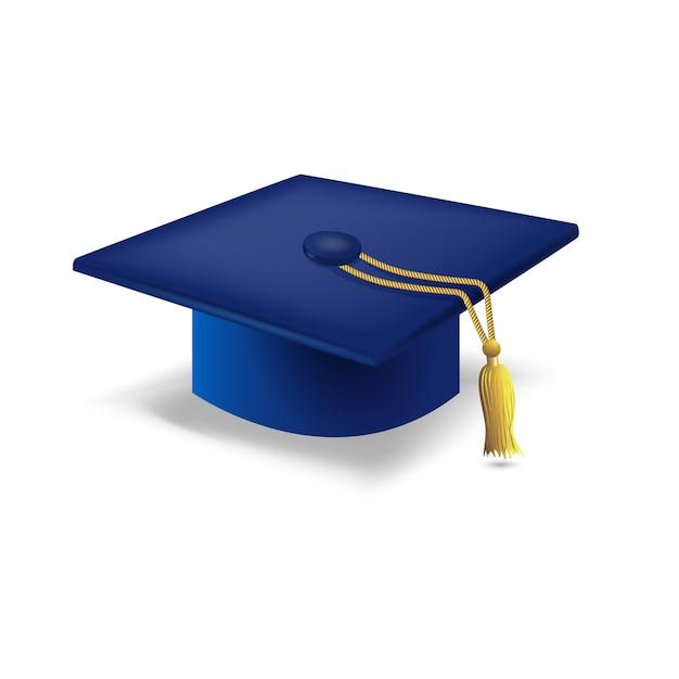 Blue graduation cap Free Vector