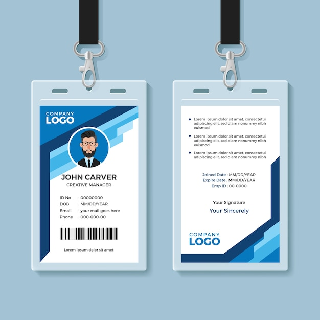 Blue Graphic Employee Id Card Template Vector