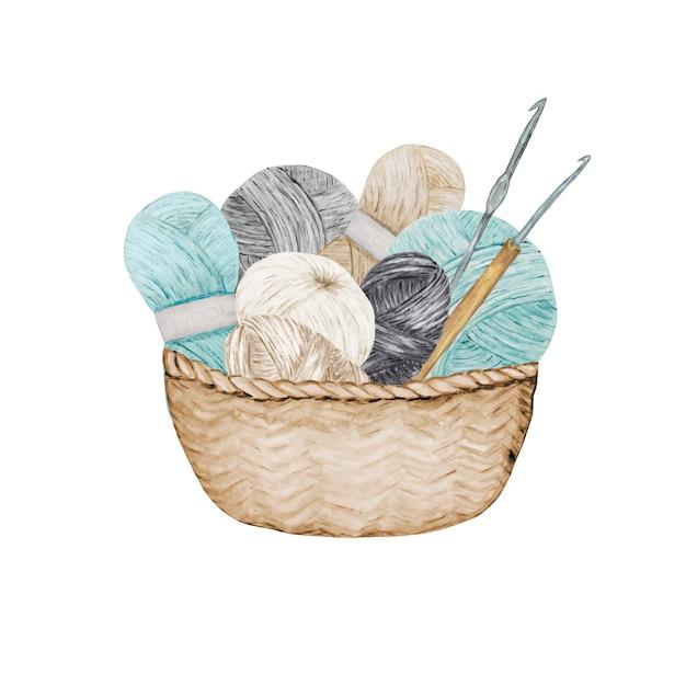 Blue gray beige crocheting knitting shop logotype, branding, avatar composition of yarns balls, crochet hooks in wicker basket . illustration for handmade crocheting icons scandinavian vintage style Premium Vector