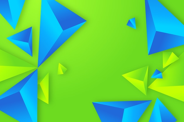 Blue and green 3d triangle background Free Vector
