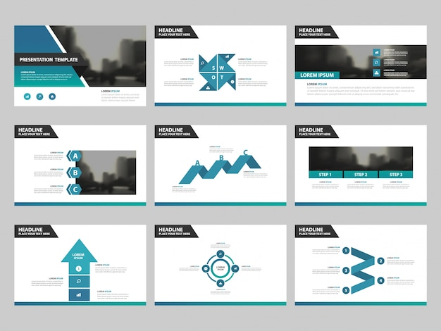 Blue Green Abstract Presentation Templates Infographic Elements