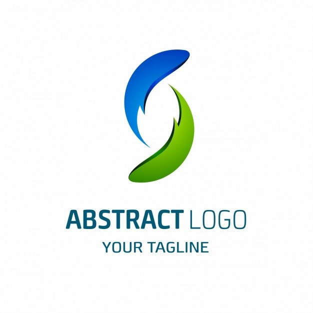 Blue and green abstract shapes logo Free Vector