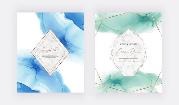 Blue And Green Alcohol Ink Cards With Marble And Gold