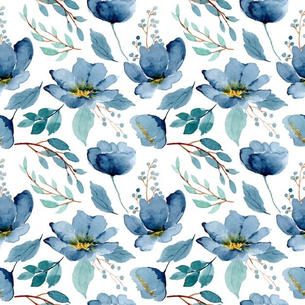 Blue green floral watercolor seamless pattern Premium Vector