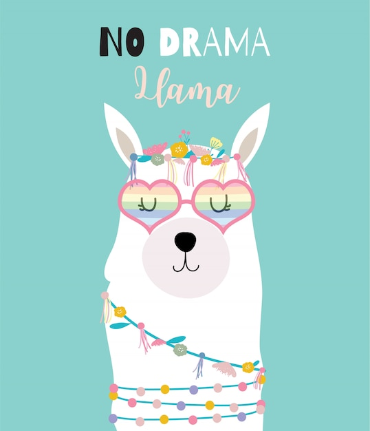 Blue green hand drawn cute card with llama Premium Vector