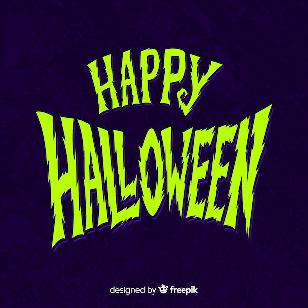 Blue and green happy halloween lettering Free Vector