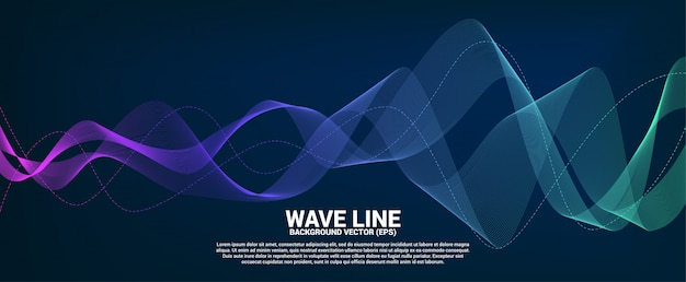 Blue and green sound wave line curve on dark background. Premium Vector