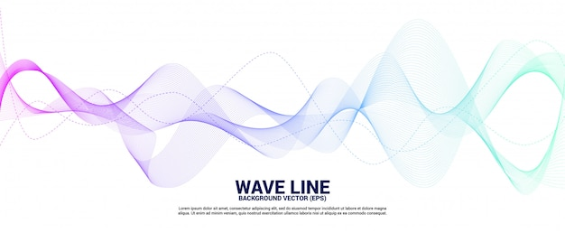 Blue and green sound wave line curve on white background. Premium Vector