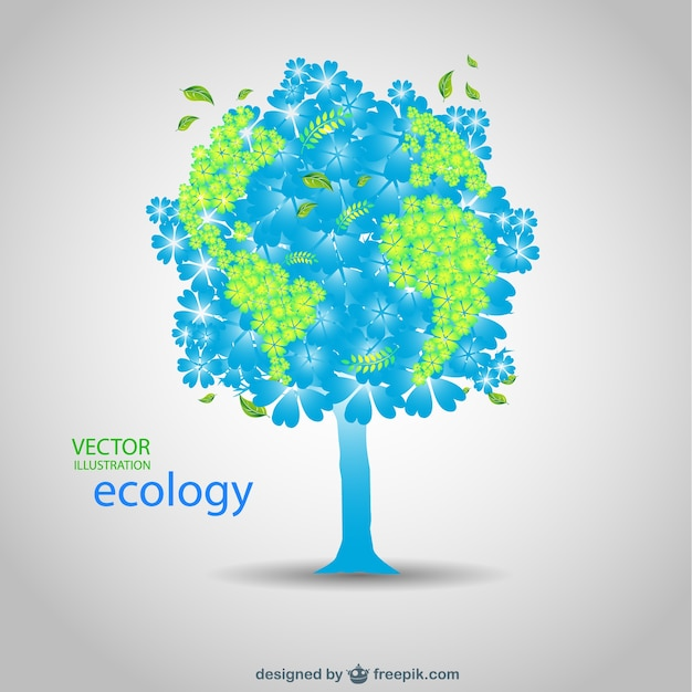 Blue and green tree in an ecology card Free Vector