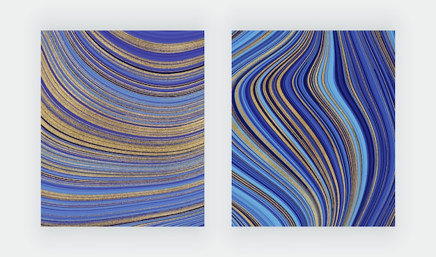 Blue and green watercolor brush stroke cards with geometric marble. abstract hand painted background. Premium Vector
