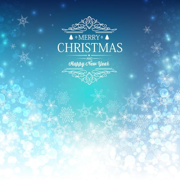 願い、雪だるまなどの装飾的な要素を持つ青い挨拶メリークリスマスと新年の装飾カード 無料ベクター