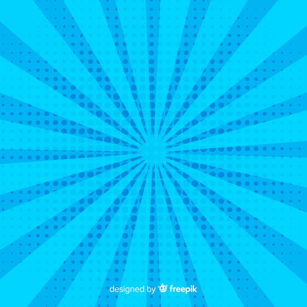Blue halftone comic background Free Vector