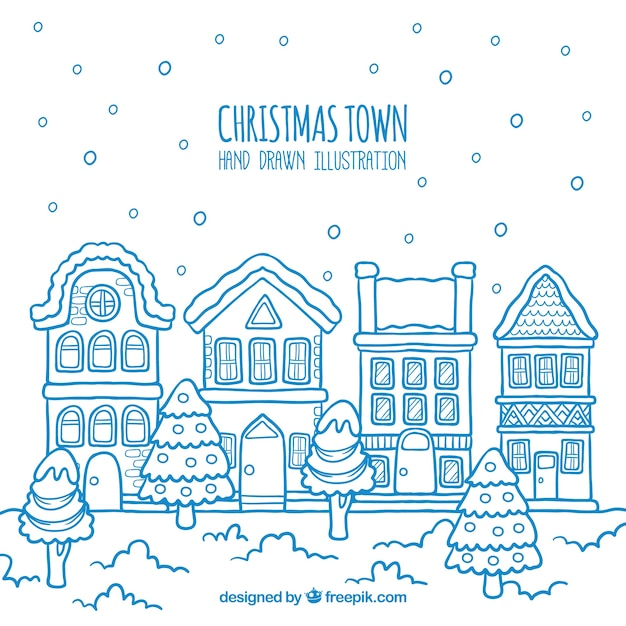 Blue hand drawn christmas town