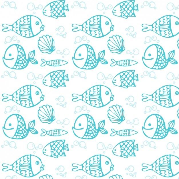 Blue hand drawn fish pattern Free Vector